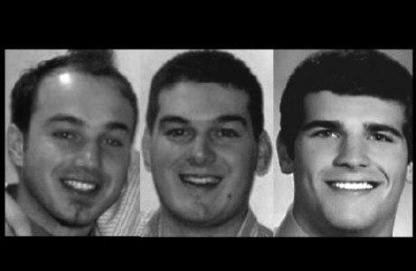 Marcelo Rugini (à esq.), William Hannigan (centro) e David Cheney (à dir.) eram colegas de fraternidade e morreram no acidente