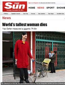 Yao Defen era a mulher mais alta do mundo