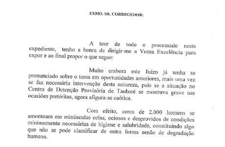 Trecho de carta enviada pela juíza  Sueli Zeraik de Oliveira Armani