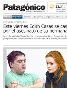Víctor Cingolani que cumpre 13 anos de prisão e Edith Casas, de 22 anos, irmã da ex-modelo