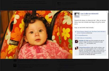 O caso de Cecília ganhou uma página no Facebook organizada por amigos da brasileira