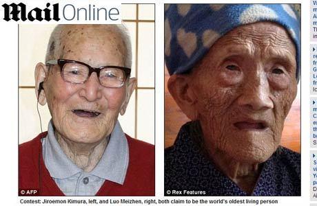 """Luo (à direita), de 127 anos, poderá ser considerada a pessoa mais velha que já viveu na terra. Enquanto isso, o japonês Jiroemon Kimura, que é reconhecido como o homem mais velho do mundo atualmente, tem """"apenas"""" 115 anos"""