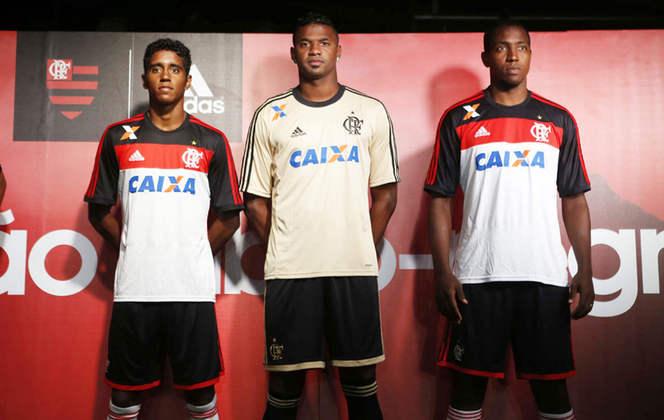 2013 - De fornecedor novo, o Flamengo passou a ter o segundo uniforme com uma faixa preta nas mangas e no ombro, além da faixa vermelha embaixo.