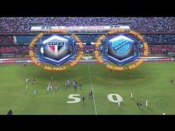 2013 - São Paulo 5 x 0 Bolívar (BOL) - Goleada para começar om o pé direito. Rogério Ceni , Jadson , Luis Fabiano (2) e Osvaldo marcaram na vitória fácil.