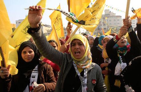 A manifestação marcou os 48 anos desde a fundação do Fatah para comandar os palestinos na luta contra Israel