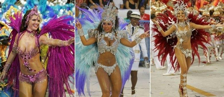 Raissa (centro) diz que Luma de Oliveira (esquerda) e Juliana Paes (direita) dominam a fórmula das majestades do samba