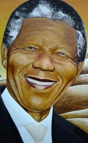 Detalhe do quadro feito pelo pintor Sifiso Ngcobo