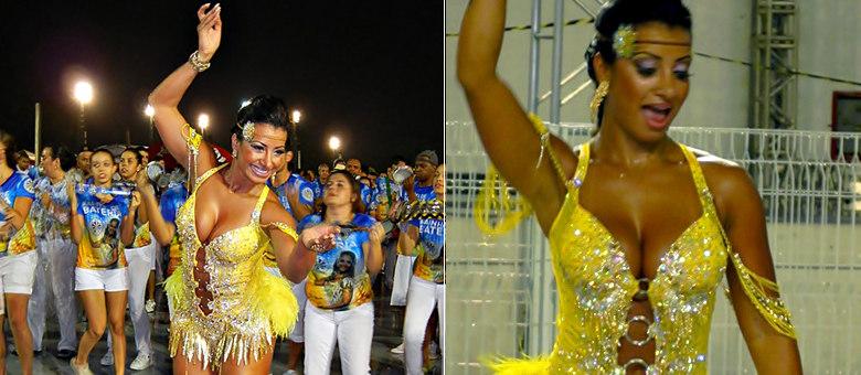 Cinthia Santos no ensaio técnico da Águia de Ouro, no Anhembi