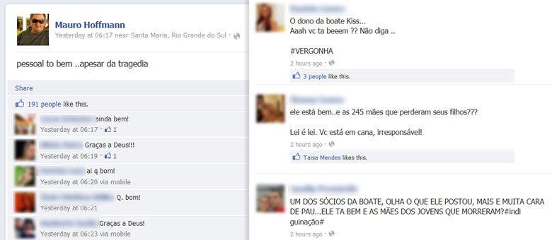 Post do sócio da boate expressando alívio, em seu perfil no Facebook, foi malvisto por internautas