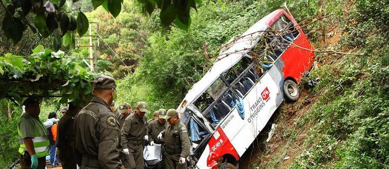 Micro-ônibus, que levava torcedores de um time de futebol chileno, saiu da estrada e caiu em um barranco