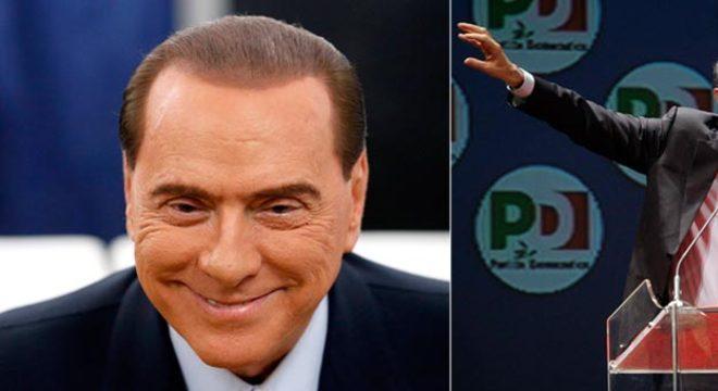 O centro-esquerdista Bersani (dir.) faturou a maioria na Cãmara, mas viu seu rival direitista Berlusconi (esq.) levar o maior número de cadeiras no Senado: embate continua