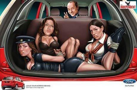 Um dos anúncios mostra Berlusconi e três mulheres amarradas no porta-malas