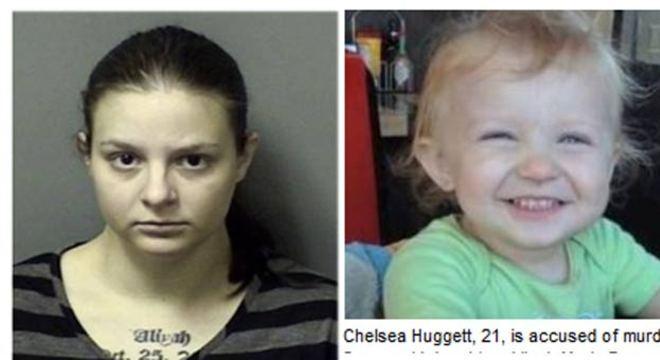 Grávida de oito meses, Chelsea Huggett confessou ter matado a filha de dois anos esmagando a cabeça da criança