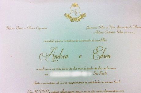 Convite do casamento de Andrea e Edson, dupla do Hudson