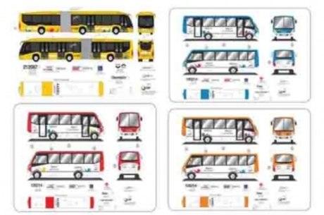 Os ônibus terão as cores definidas de acordo com a bacia que irão atender
