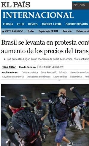 Jornal El País destacou protestos contra aumento da tarifa dos transportes no Brasil
