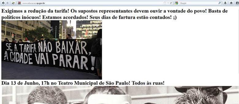 Os invasores deixaram o convite para o manifesto contra o aumento da tarifa no centro de São Paulo