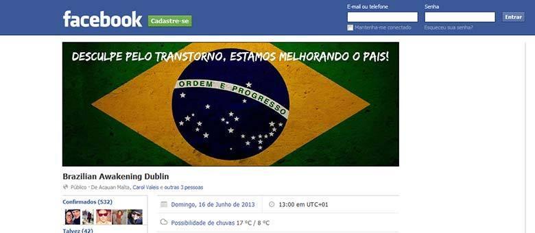 Evento no Facebook convoca manifestantes para protestos em Dublin, na Irlanda