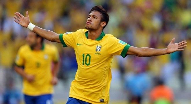 Neymar comemora golaço pelo Brasil, contra o México, na partida desta quarta-feira (19)