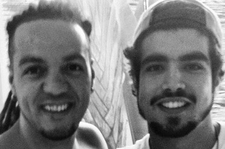Caio Castro encontrou o cantor Belo e pediu para tirar foto