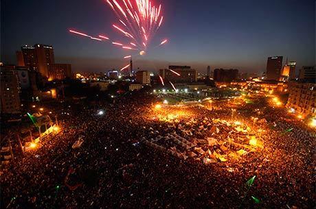 A praça Tahrir está tomada de opositores ao regime