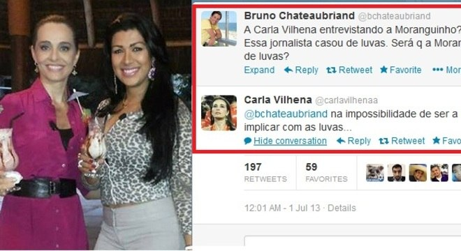 Jornalista postou uma foto da reportagem com  Moranguinho em seu Facebook e respondeu ao socialite no Twitter