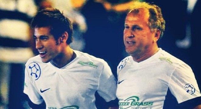 Zico e Neymar já atuaram juntos em jogos festivos de final de ano