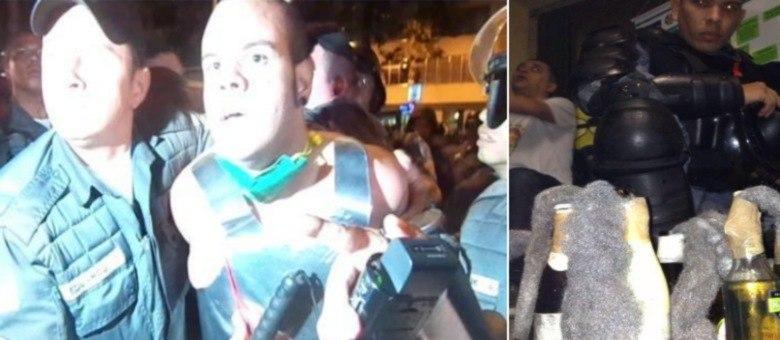 Bruno foi levado à 9ª DP; à direita, um PM apresenta os artefatos que polícia diz ser do manifestante