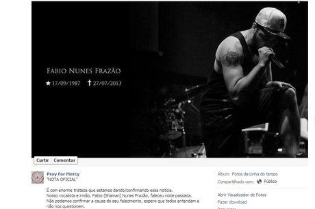 Banda confirma morte de vocalista em rede social
