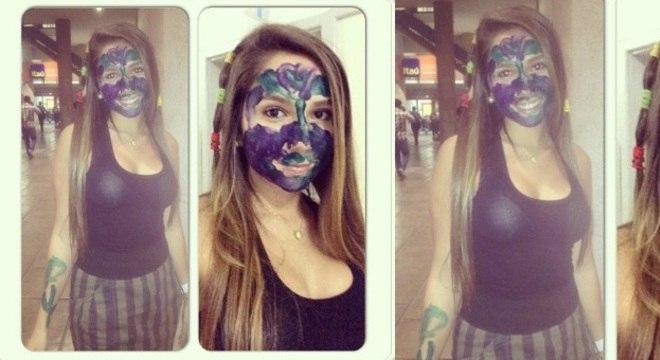 Carol Portaluppi apareceu com o rosto todo pintado depois de levar trote em primeiro dia na faculdade