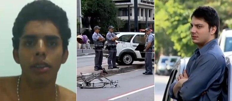 O ciclista David Santos Souza (esquerda) teve o braço arrancado ao ser atropelado por um carro na avenida Paulista no dia 10 de março. Alex Kozloff Siwek (direita) fugiu e jogou o membro amputado em um córrego