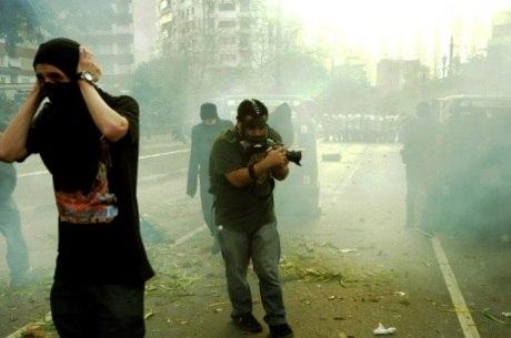Protesto de Black Bloc e mascarados Vingadores, em São Paulo