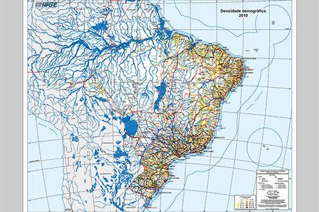 Porção colorida do mapa indica maior concentração de habitantes