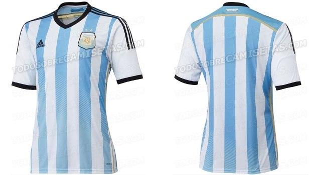 3c4d39d85 Nos últimos  Lionel Messi e seus companheiros de seleção argentina terão um  novo manto para a Copa 2014  O segundo uniforme ...