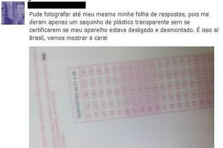 Imagem mostra cartão de resposta e comentário de como a candidata fez a foto