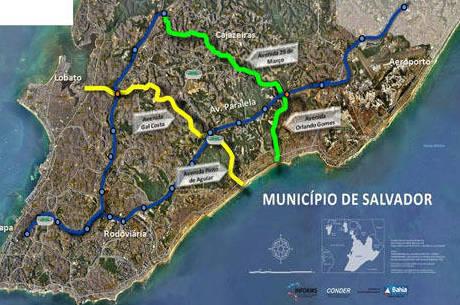 Mapa dos corredores transversais em Salvador