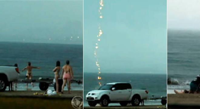 Bombeiros tentaram reanimar a banhista ainda praia, mas ela não resistiu à descarga elétrica e faleceu