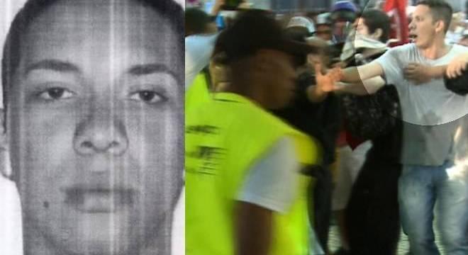 À esquerda, suspeito de disparar o rojão em foto divulgada pela polícia; à direita, o manifestante que seria o suspeito procurado por policiais em vídeo gravado pela Rede Record durante protesto na Central do Brasil