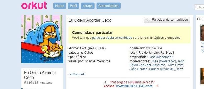 """Comunidade """"Eu Odeio Acordar Cedo"""" é a maior do Orkut com mais de 6 milhões de membros"""