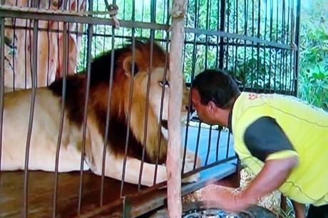 Golias Santos dá um beijinho no amigo e ganha uma lambida em troca