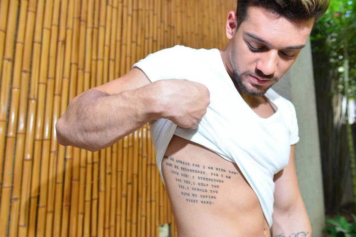 Cantor Todo Tatuado Brasileiro desvende as tatuagens de lucas lucco. o r7 te conta o