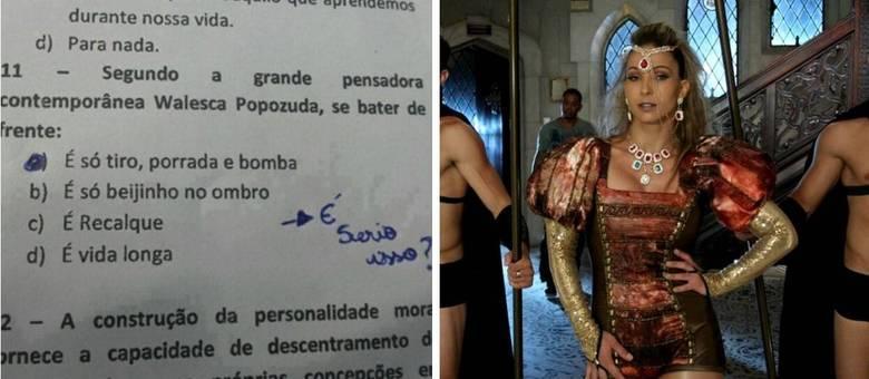 Foto de questão de prova que cita letra de Valesca Popozuda tem sido compartilhada no Facebook
