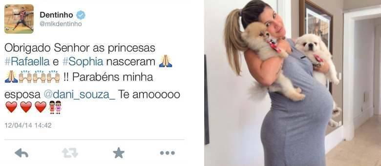Dentinho anunciou nas redes sociais o nascimento das gêmeas Rafaella e Sophia