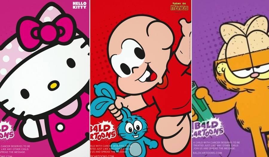 Personagens De Desenhos Infantis Raspam A Cabeca Em Apoio As