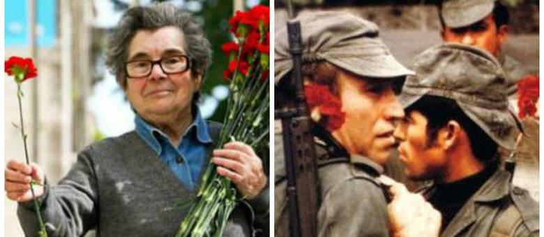 Celeste Caeiro (à esquerda, foto atual) distribuiu flores aos militares durante a Revolução (à direita, foto de 1974)