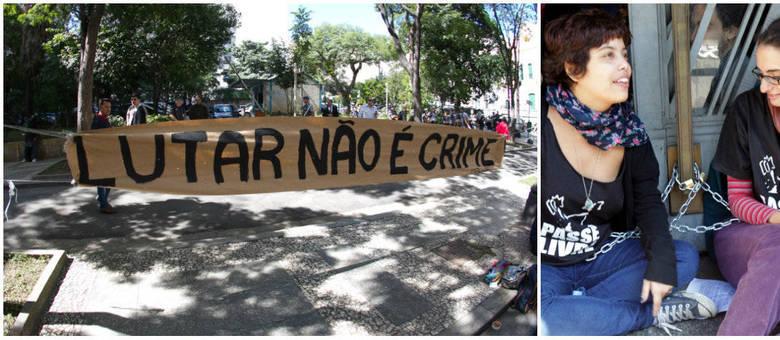 Integrantes do MPL estão na frente da Secretaria de Segurança Pública de São Paulo, no centro da cidade