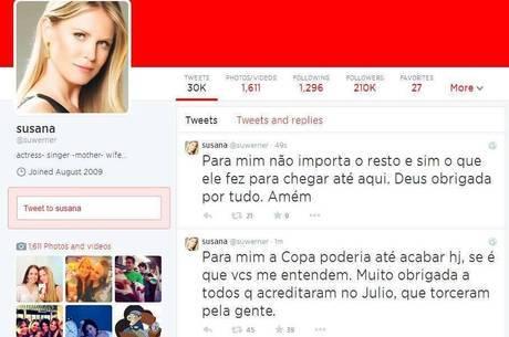 Susana Werner agradeceu o apoio dos fãs ao maridão Julio César