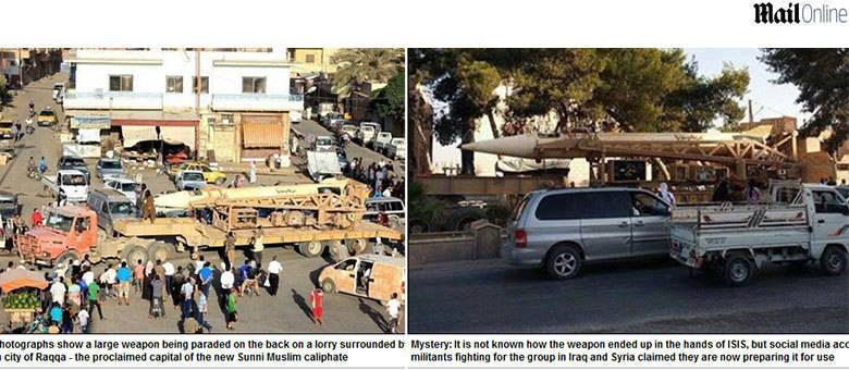 Um enorme míssil balístico de longa distância foi exposto em cima de um caminhão, na cidade síria de Raqqa