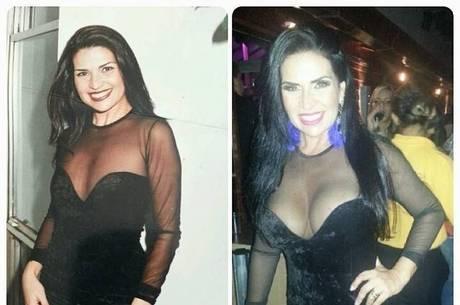 Solange Gomes veste roupa 16 anos depois e compara diferença