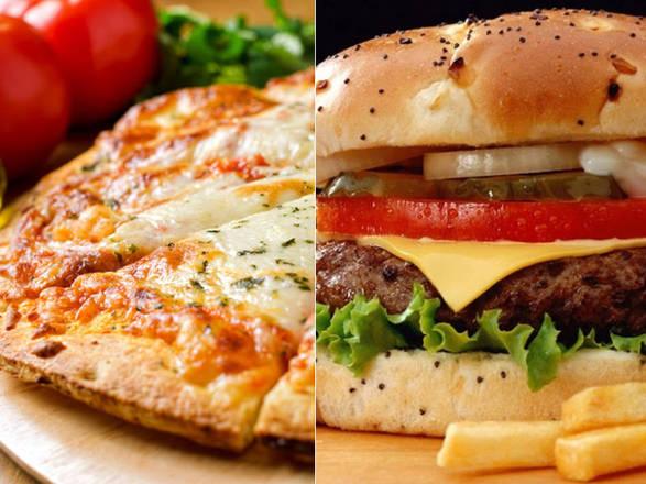 Resultado de imagem para pizzas e hamburgueres